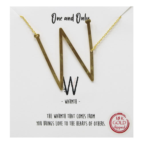 Tell Your Story: W Initial Simple Chain Short Necklace