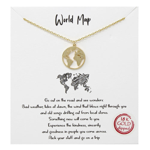 Tell Your Story: World Map Pendant Simple Chain Necklace