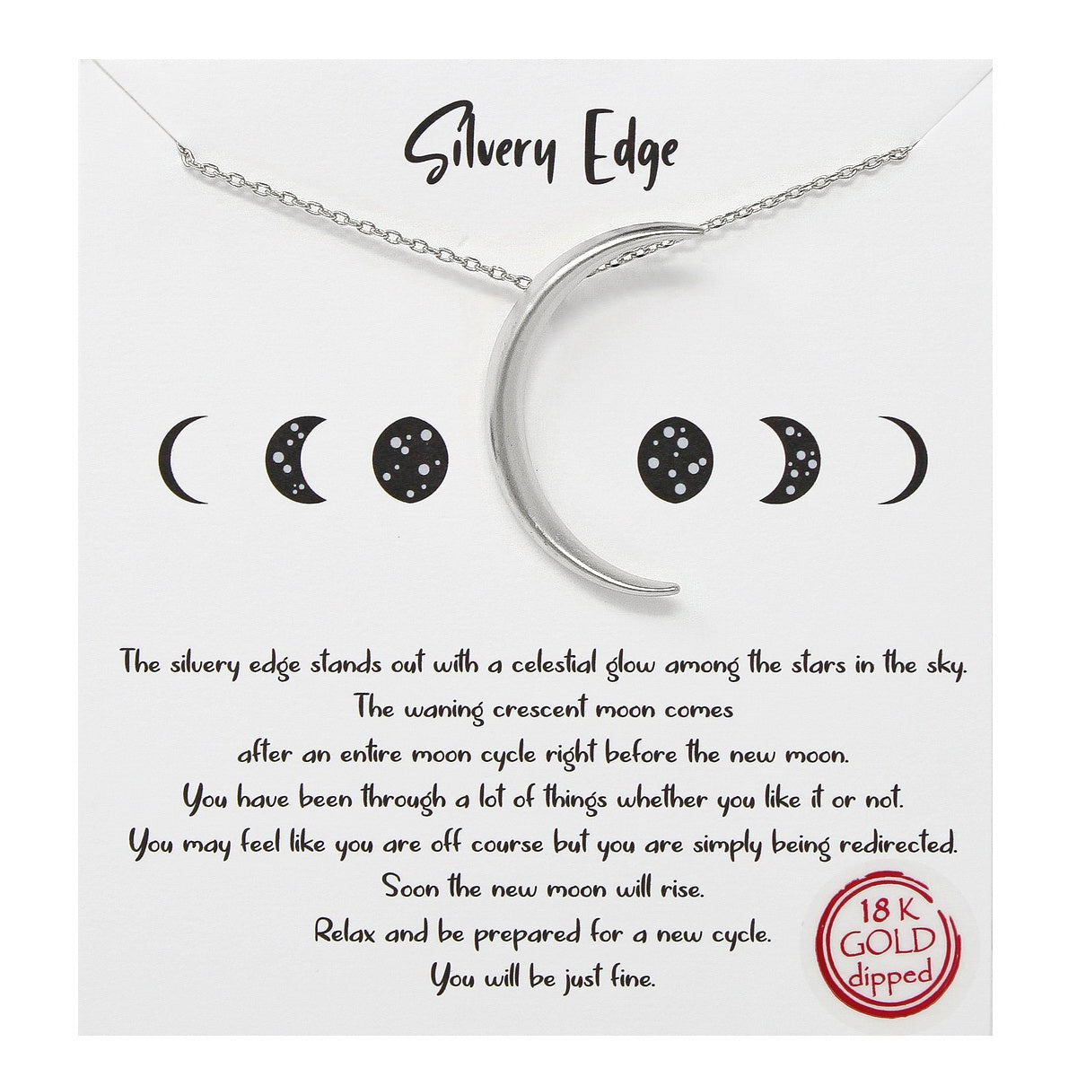 Tell Your Story: Silvery Edge Pendant Simple Chain Necklace