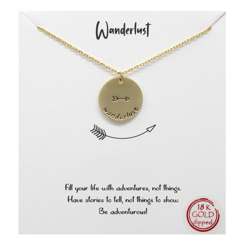 Tell Your Story: Wanderlust Engraved Pendant Short Necklace