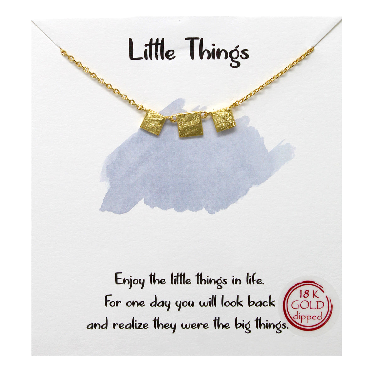 Tell Your Story:  Little Square Pendant Simple Chain Short Necklace