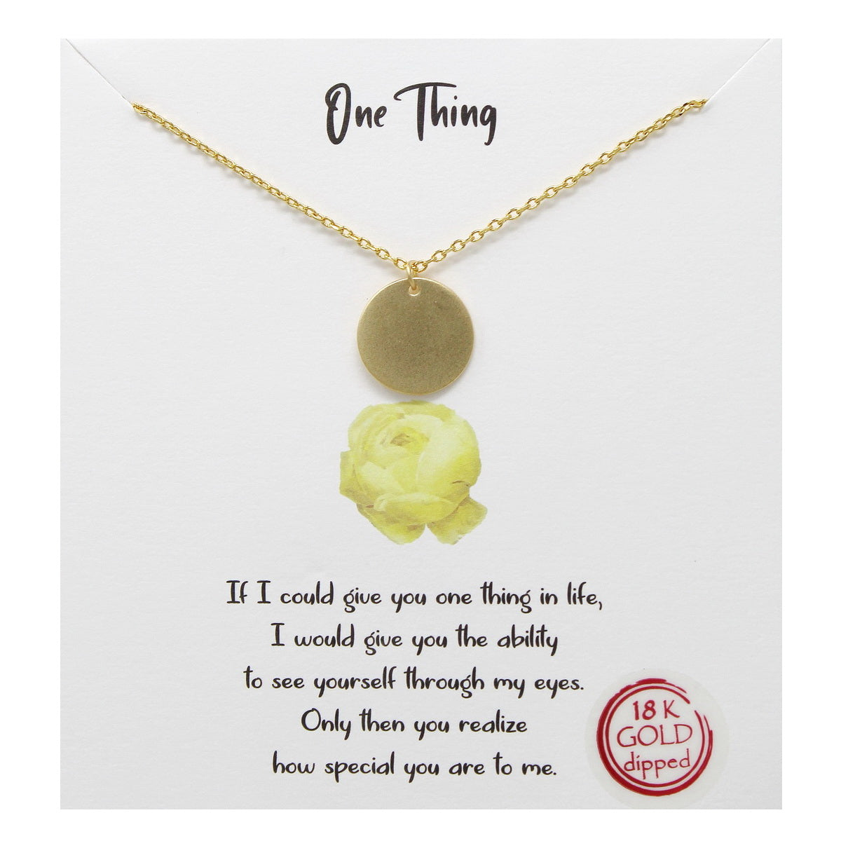Tell Your Story: One Thing Disc Pendant Simple Chain Necklace