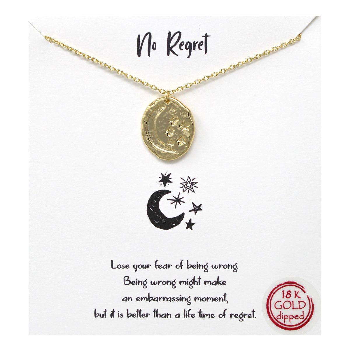 Tell Your Story:  No Regret Metal Pendant Simple Chain Short Necklace