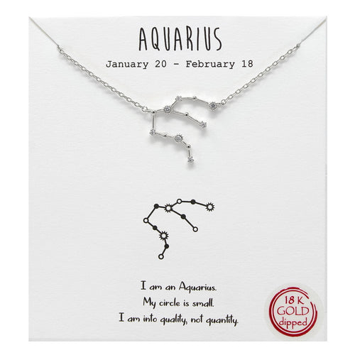 Tell Your Story: Aquarius CZ Pave Zodiac Necklace