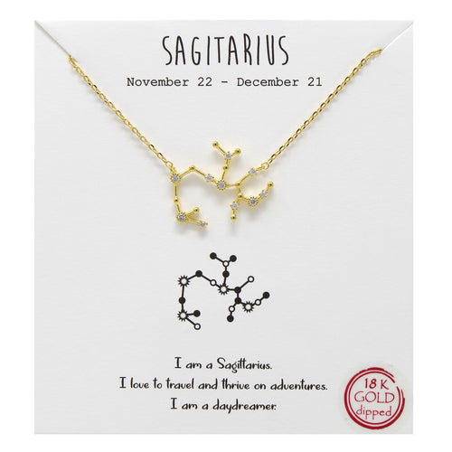 Tell Your Story: Sagittarius CZ Pave Zodiac Necklace