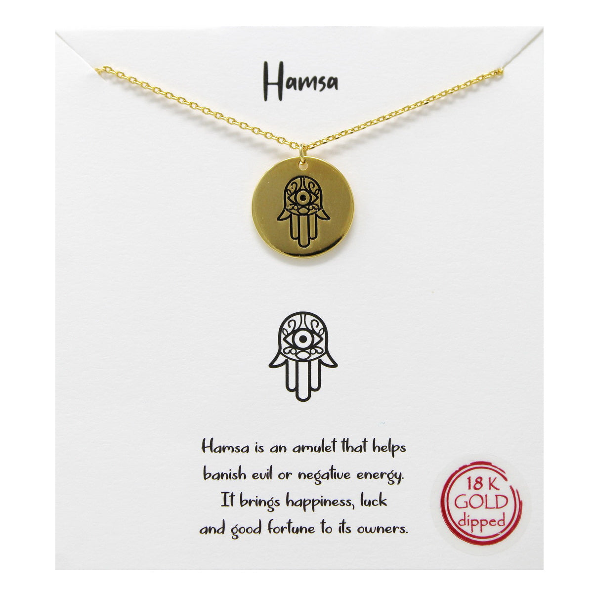 Tell Your Story: Hamsa Pendant Simple Chain Necklace