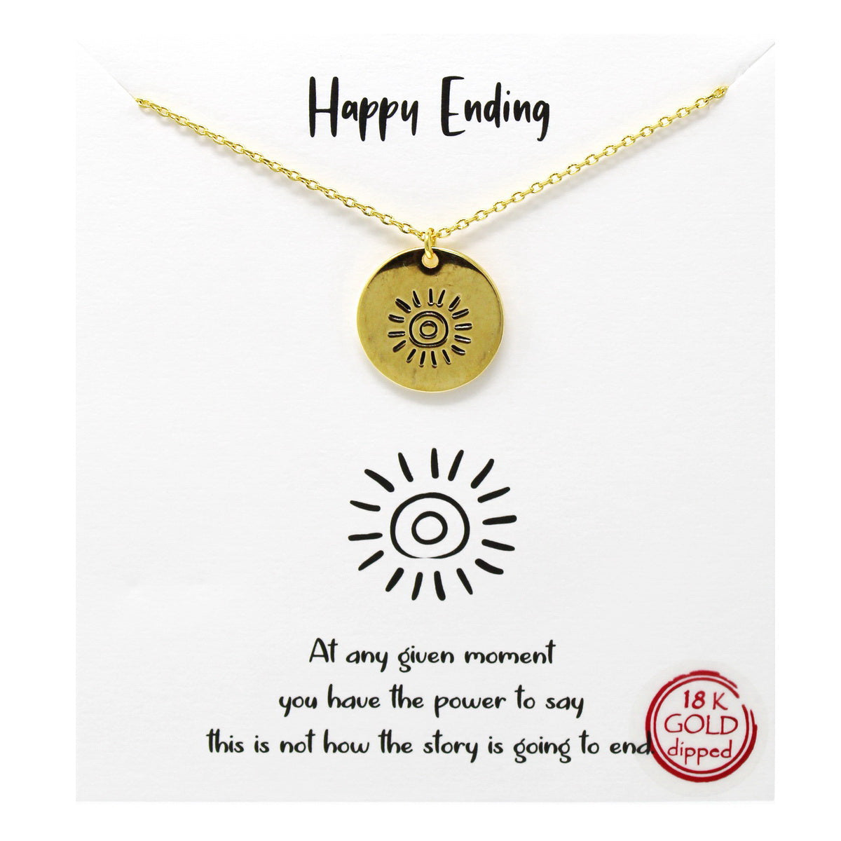 Tell Your Story: Happy Ending Pendant Simple Chain Necklace