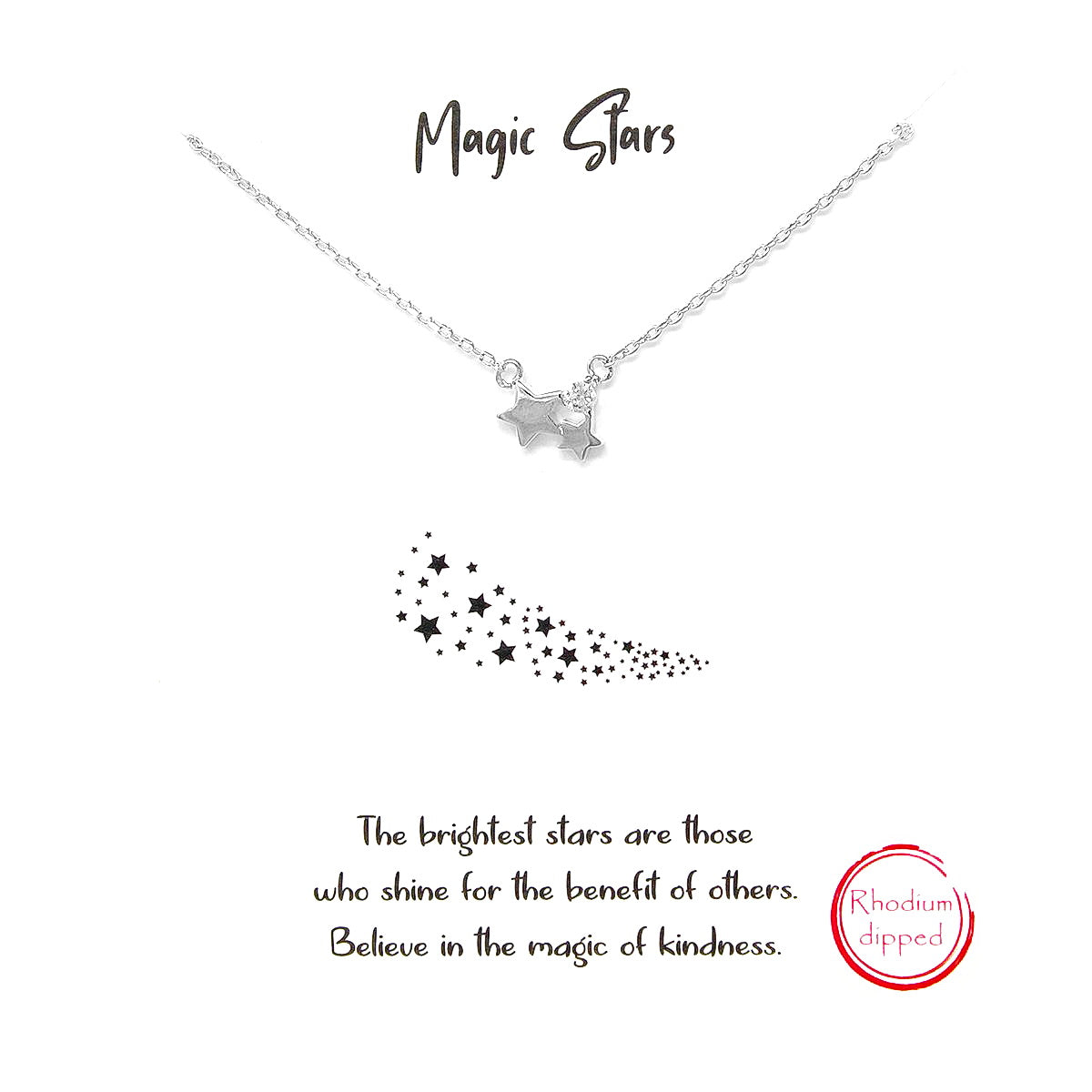 Tell Your Story:  Magic Stars CZ Pave Pendant Simple Chain Short Necklace