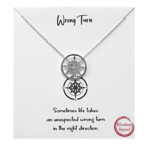 Tell Your Story: Wrong Turn Metal Pendant Simple Chain Short Necklace