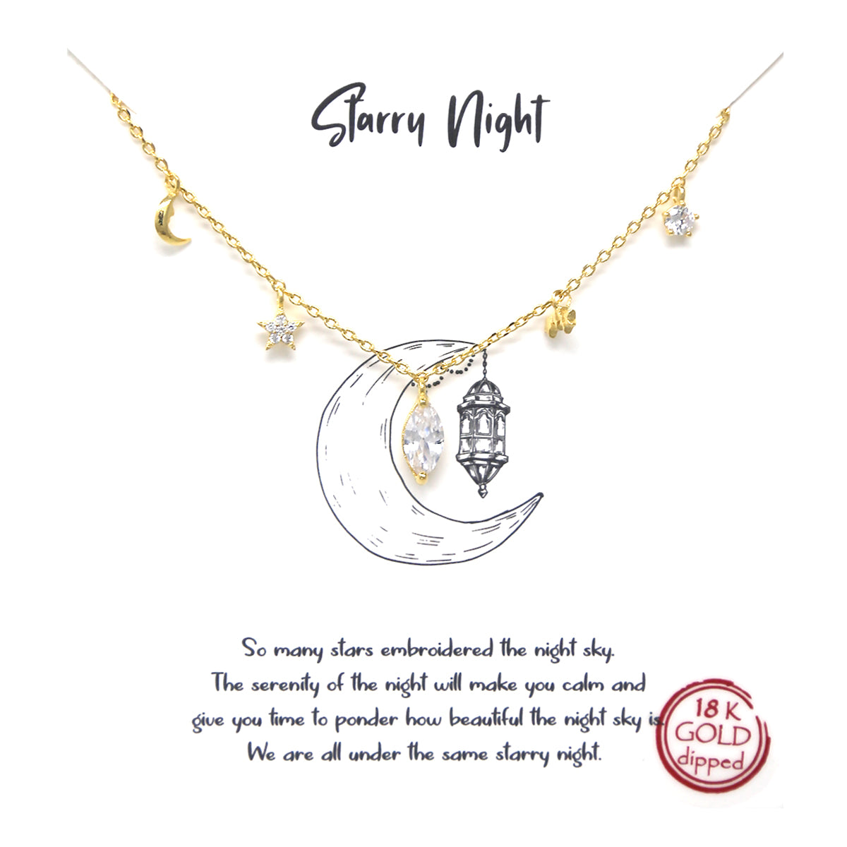 Tell Your Story: CZ Pave Star And Moon Pendant Simple Chain Short Necklace