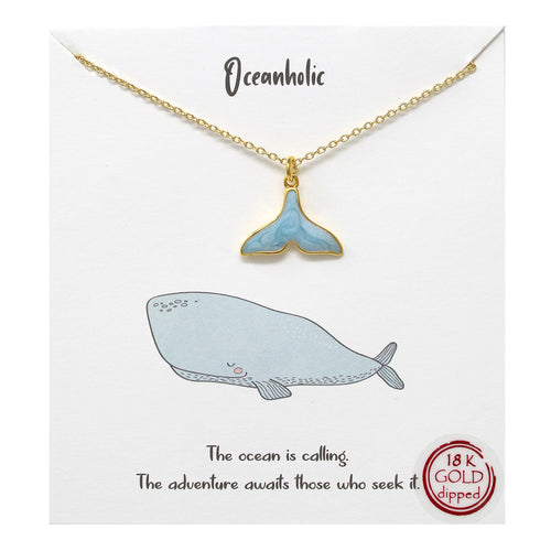 Tell Your Story: Whale Tail Pendant Simple Chain Short Necklace