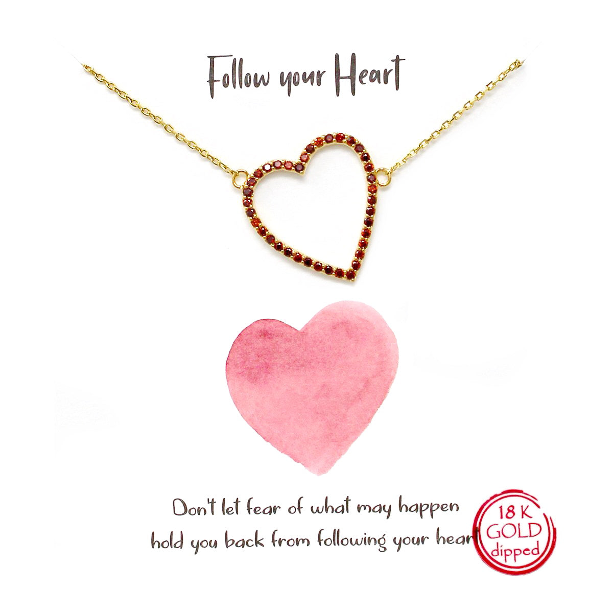 Tell Your Story: Follow Your Heart Pendant Simple Chain Necklace