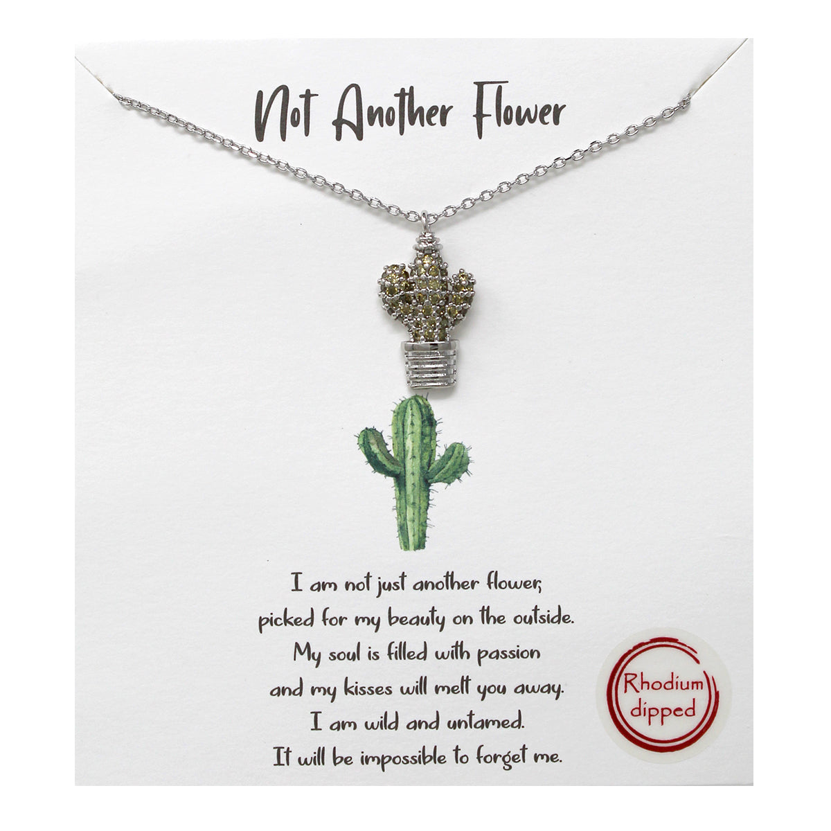 Tell Your Story: CZ Pave Cactus Pendant Simple Chain Short Necklace