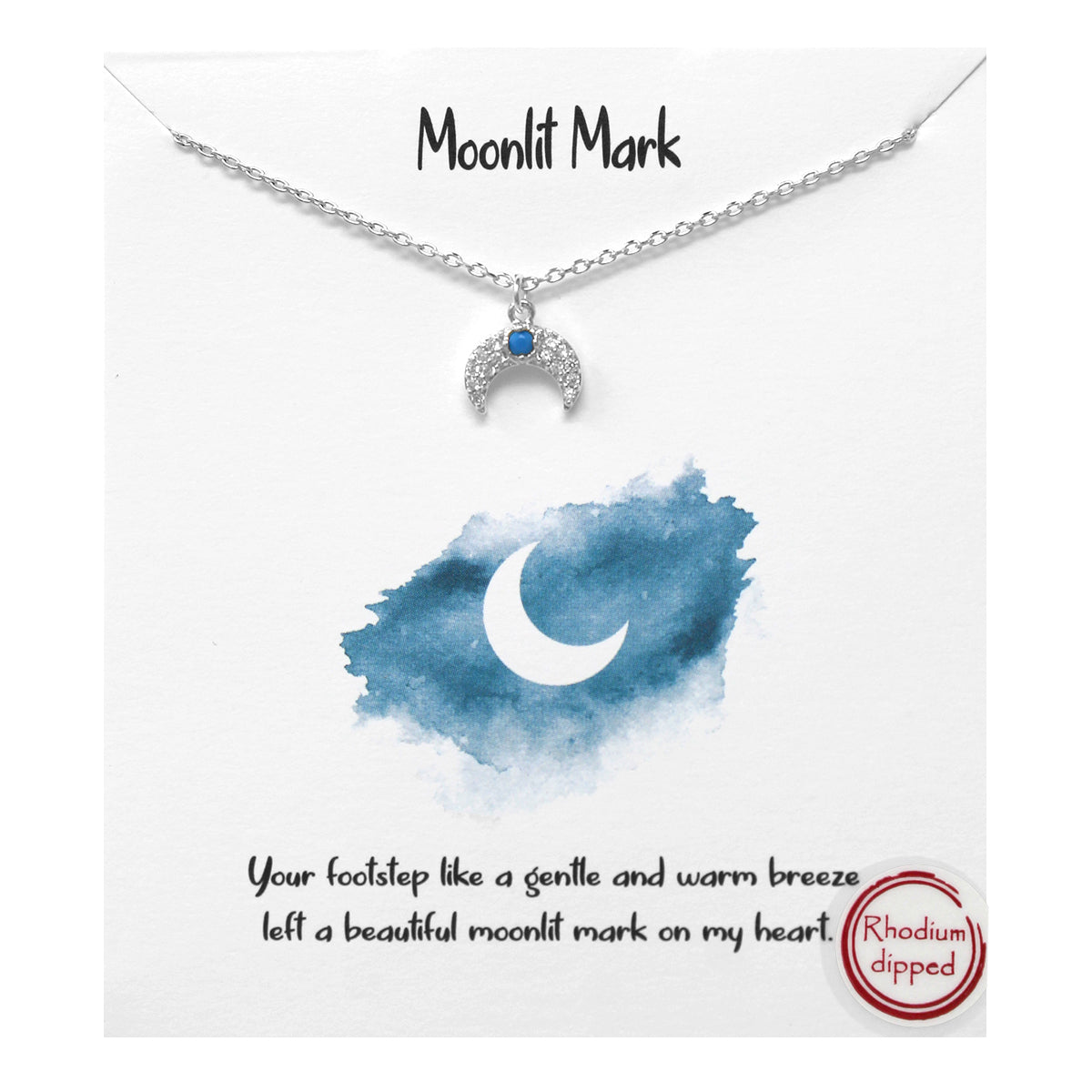 Tell Your Story: CZ Pave Crescent Moon Pendant Simple Chain Short Necklace