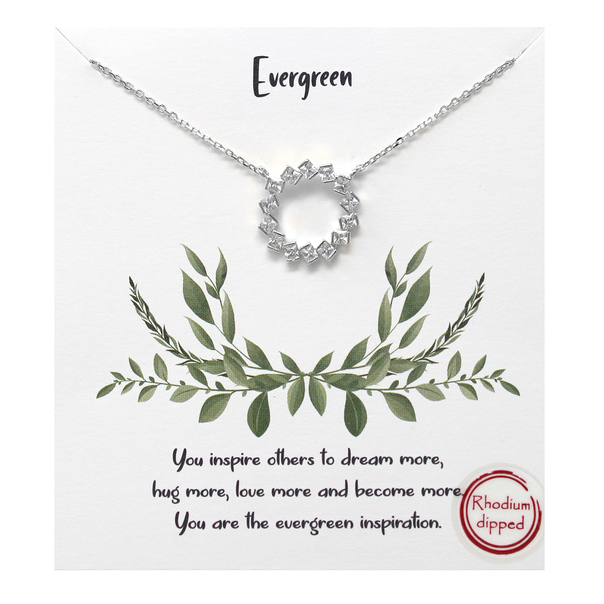 Tell Your Story: CZ Pave Wreath Pendant Simple Chain Short Necklace