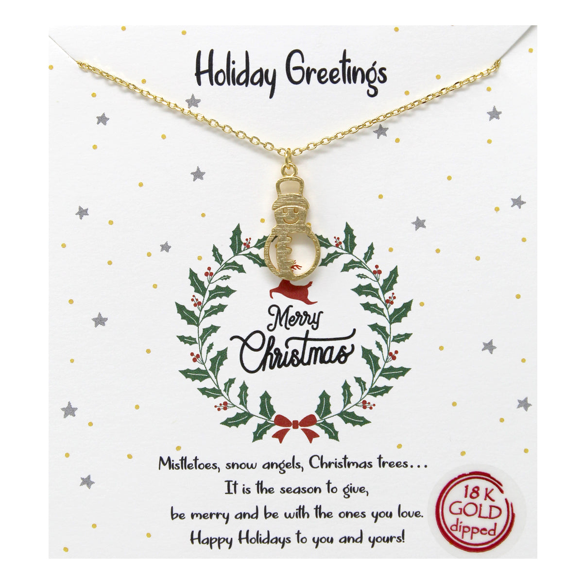 Tell Your Story: Holiday Greetings Snowman Pendant Simple Chain Necklace