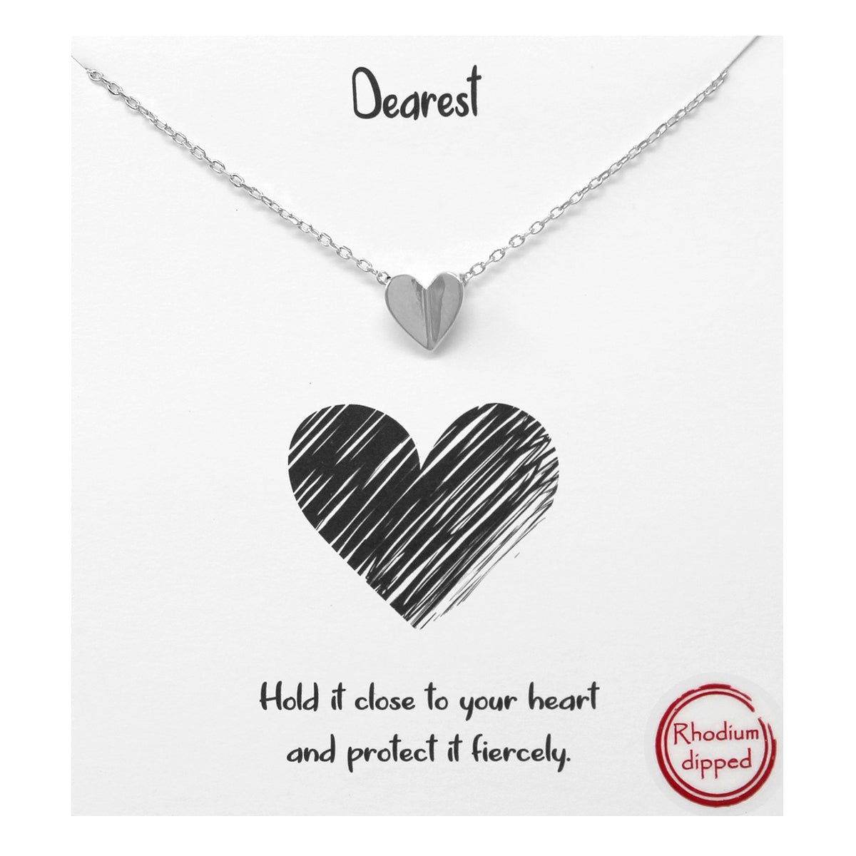 Tell Your Story: Dearest Folded Heart Pendant Simple Chain Short Necklace