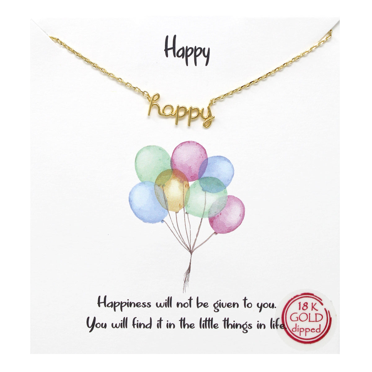 Tell Your Story: Happy Pendant Simple Chain Short Necklace