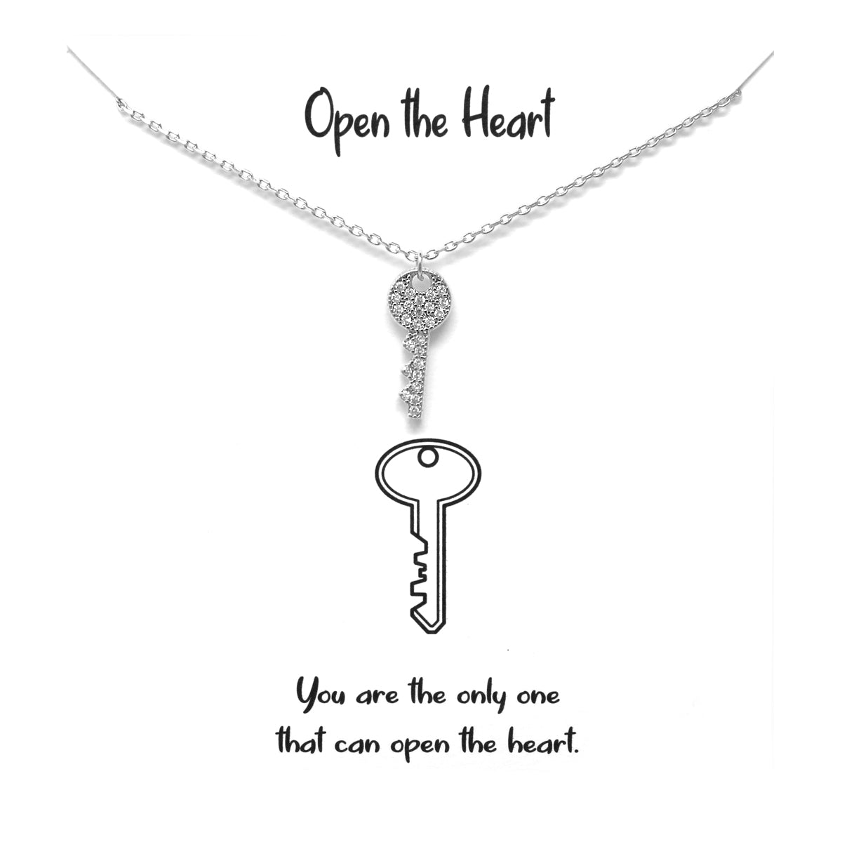 Tell Your Story: OPEN THE HEART Cubic Zirconia Pave Key Pendant Simple Chain Necklace