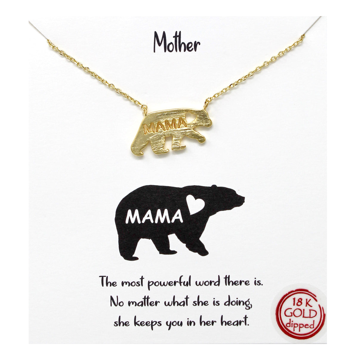 Tell Your Story:  Mother Mama Bear Pendant Simple Chain Short Necklace