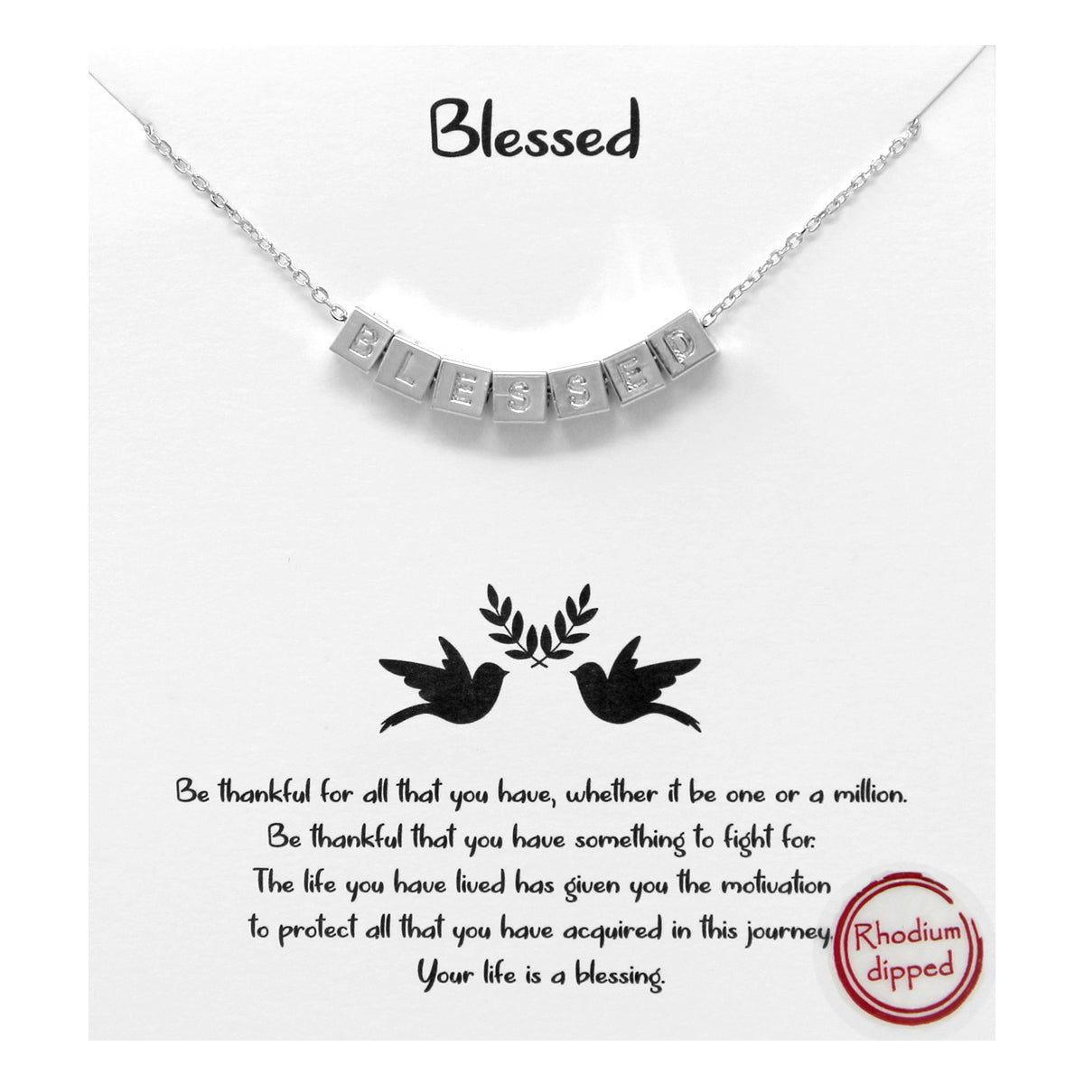Tell Your Story: Blessed Engraved Cube Pendant Simple Chain Necklace