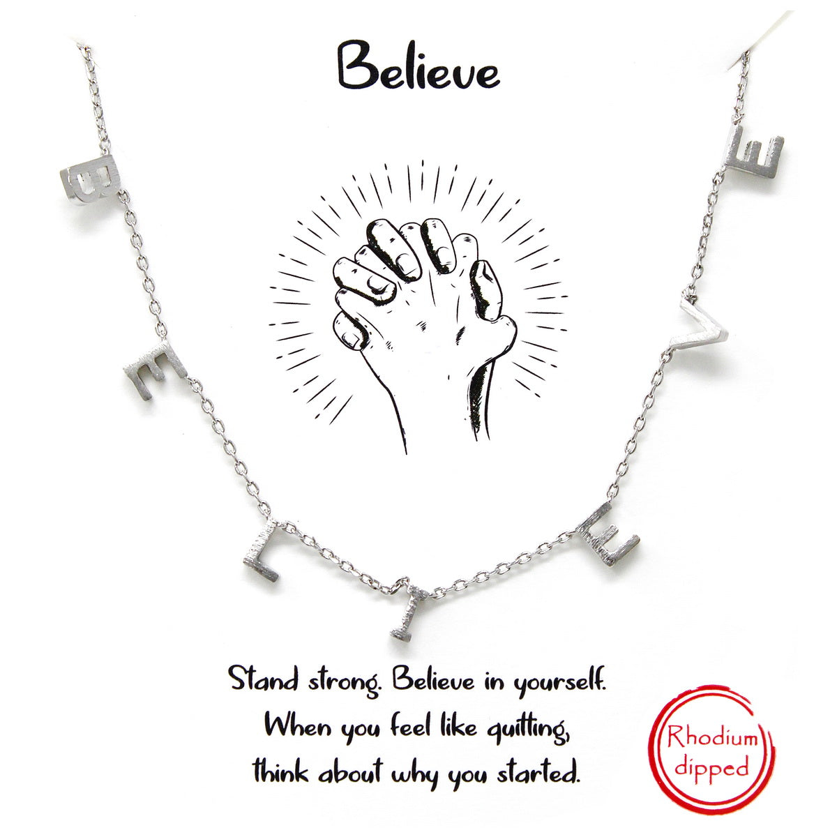 Tell Your Story: BELIEVE Spaced Letter Charm Short Chain Necklace