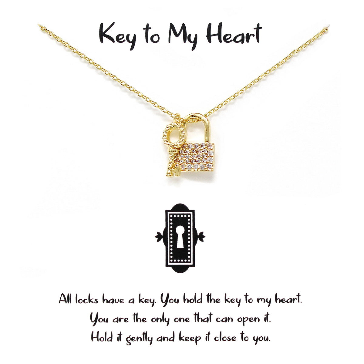 Tell Your Story: KEY TO MY HEART Pendant Simple Chain Necklace