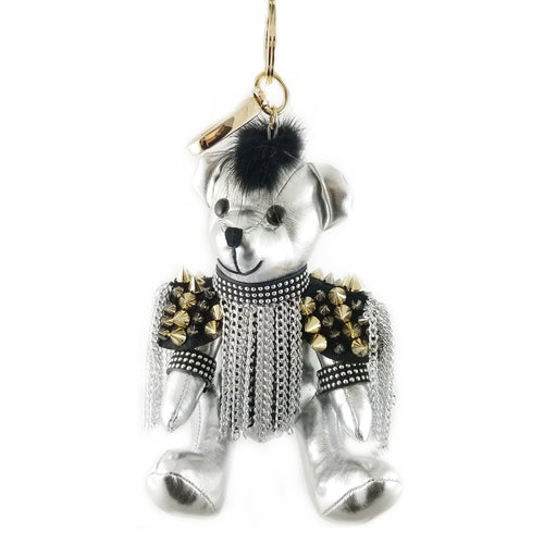 Moto Bear Chain Fringe Leather Stuffed Keychain