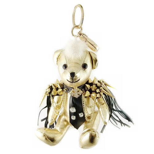 Moto Bear Leather Fringe Stuffed Keychain