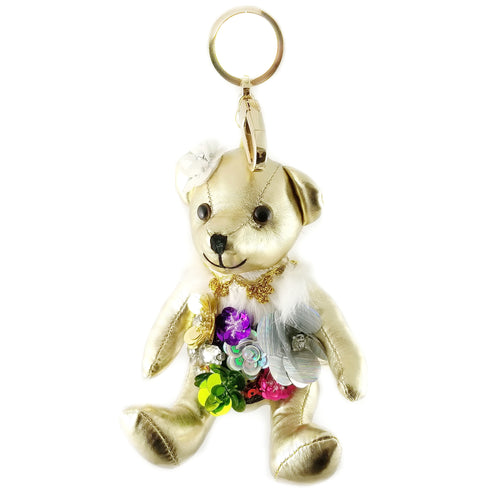 Spring Flower Teddy Bear Stuffed Leather Keychain