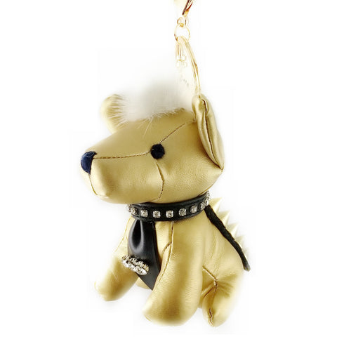 Puppy With A Tie Stuffed Leather Keychain