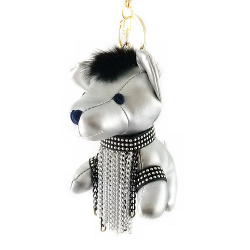 Puppy With A Chain Fringe Stuffed Leather Keychain