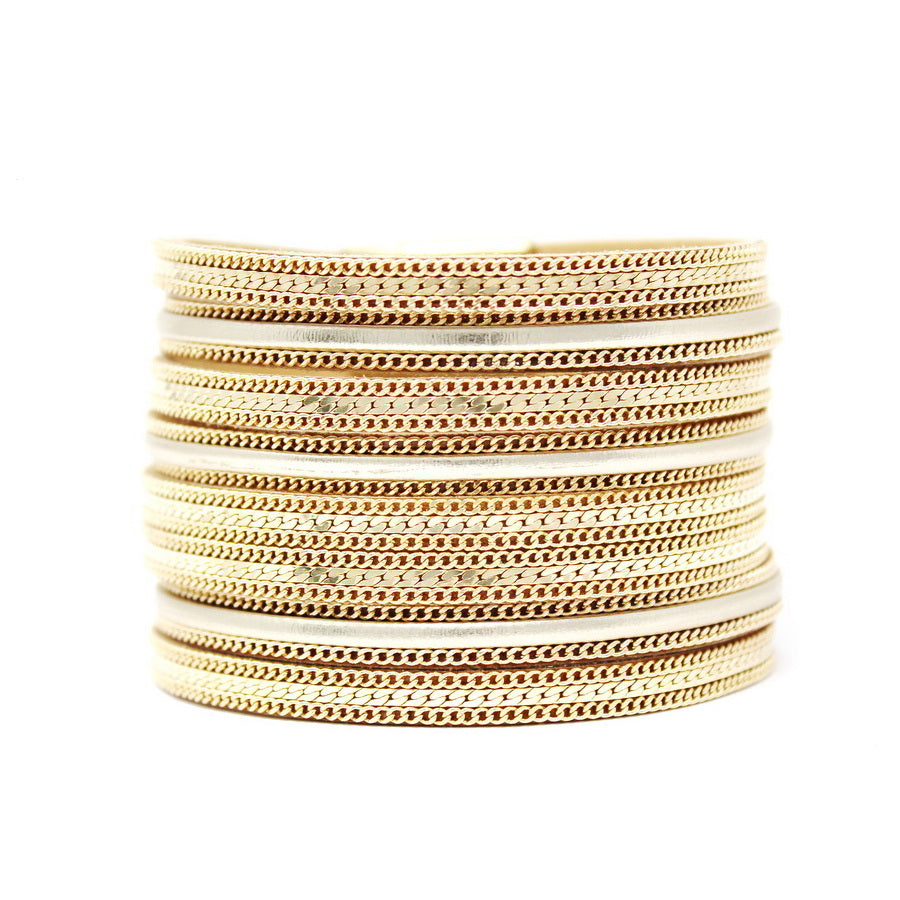 Chain Embellished Multi Strand Magnetic Bracelet