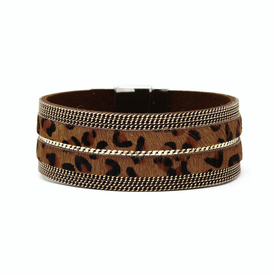 Chain Trimmed Animal Print Faux Leather Magnetic Bracelet