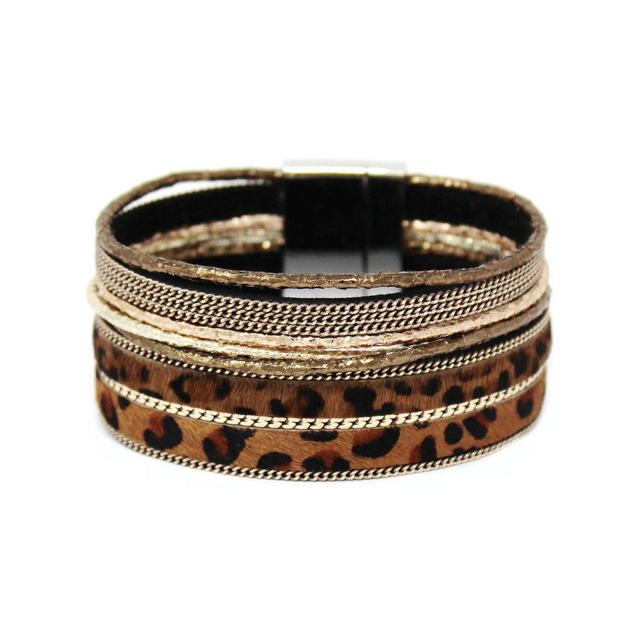 Animal Print Faux Fur And Leather Magnetic Multi Strand Bracelet
