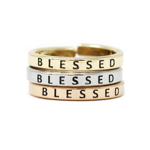 BLESSED Inspirational Tri Tone Ring Set