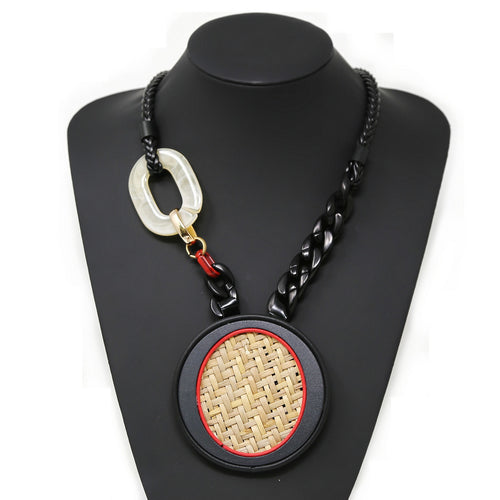 Raffia Covered Chunky Disc Short Necklace