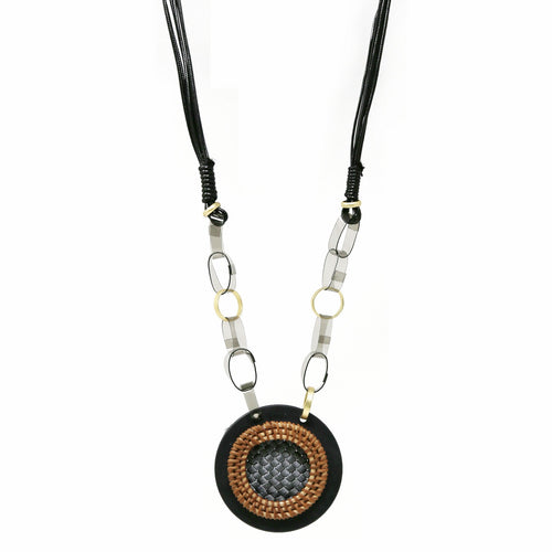 Chunky Disc Pendant PU Linked Long Necklace