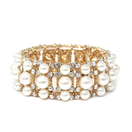 Glass Stone Pearl Bead Pave Stretch Bracelet