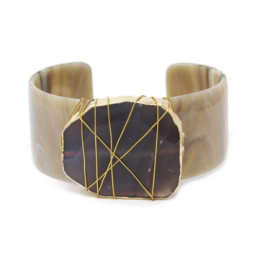 Wire Wrapped Natural Stone Acetate Cuff Bracelet
