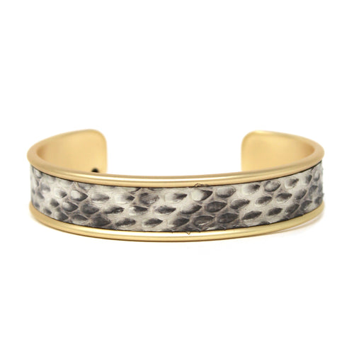 Snake Skin Print Faux Leather Embellished Cuff Bracelet