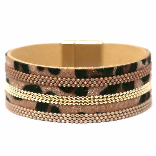 Animal Print Faux Leather Magnetic Bracelet