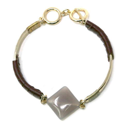 Natural Stone Faux Leather Trimmed Bracelet