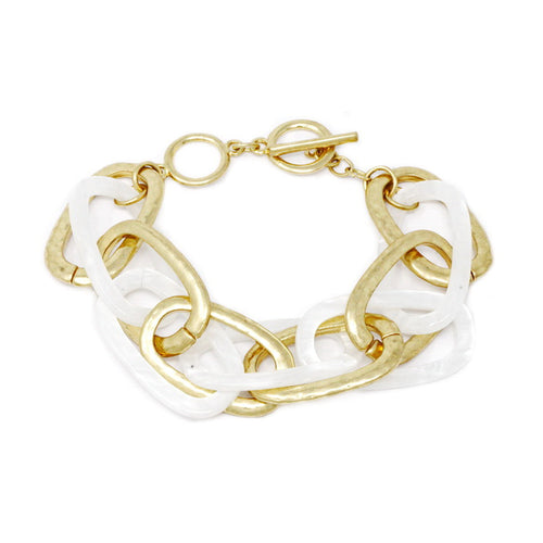 Metal And Resin Oval Link Toggle Bracelet