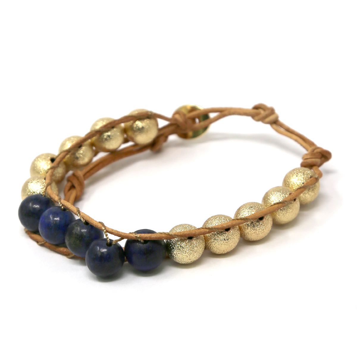 Natural Stone Glitter Texture Metal Beaded Bracelet