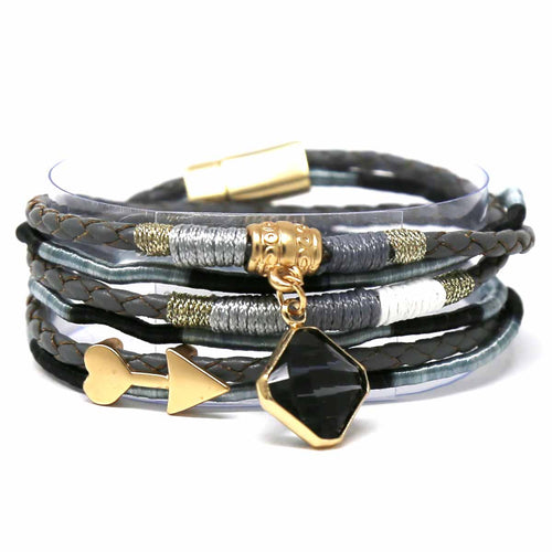 Square Glass Stone Charm Faux Leather Wrap Bracelet