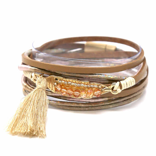 Glass Bead Embellished Leaf Tassel Charm Faux Leather Wrap Bracelet