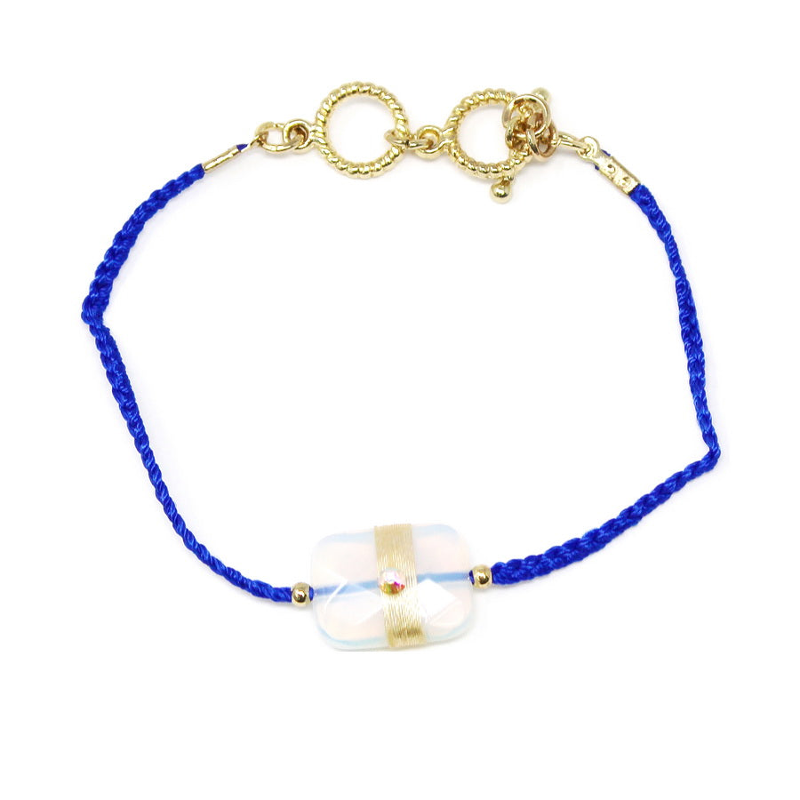 Thread Wrapped Natural Stone Charm Toggle Bracelet