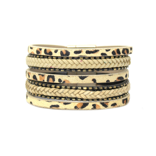 Animal Print With Braided Faux Leather Multi Strand Magnetic Bracelet