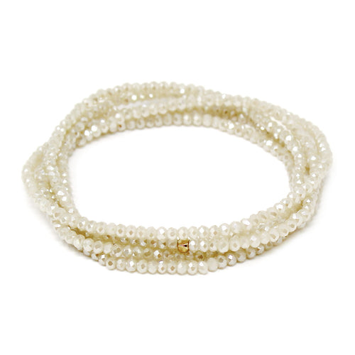 Faceted Glass Stone Beaded Stretch Bracelet Set